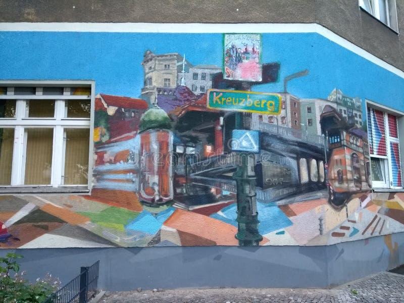 Germany, Berlin, Friedrichshain-Kreuzberg district, graffiti on a building faτade in Skalitzer Strasse royalty free stock photography