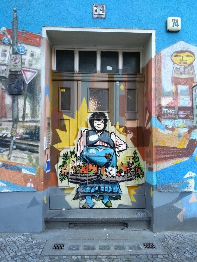 Germany, Berlin, Friedrichshain-Kreuzberg district, graffiti on a building faτade in Skalitzer Strasse royalty free stock photos