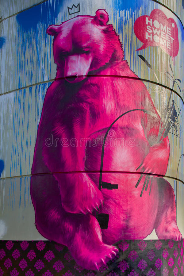 Graffiti Berliner bear tower Berlin. The art tower bierpinsel, decorated with graffiti from international street art artists Flying Foertress,Sozyone,Honet,Craig