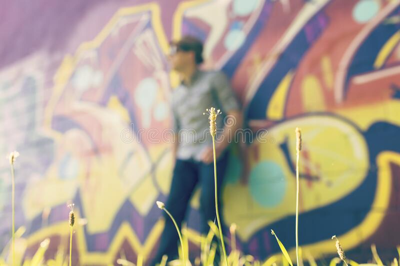 Graffiti blur on wall stock photos