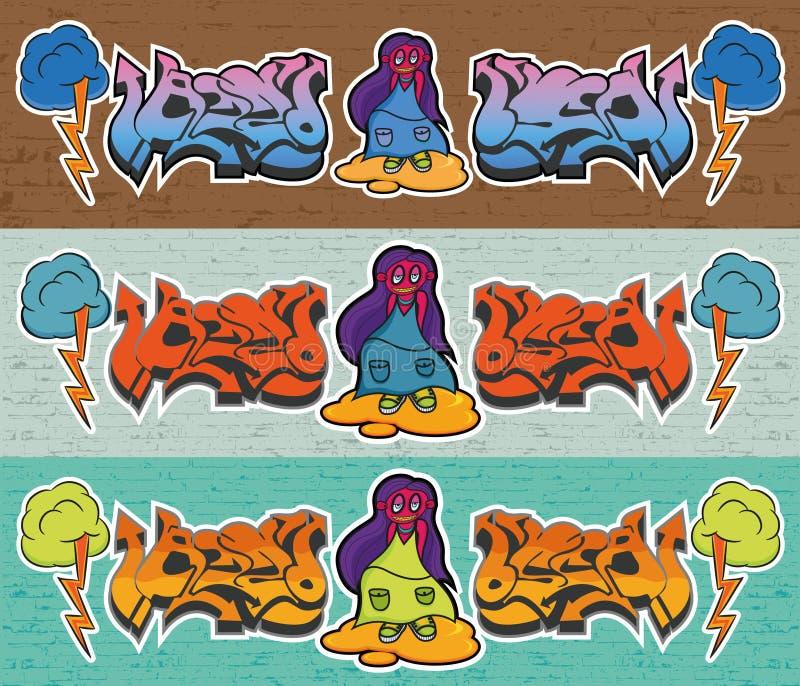 Graffiti on brick wal royalty free stock photos