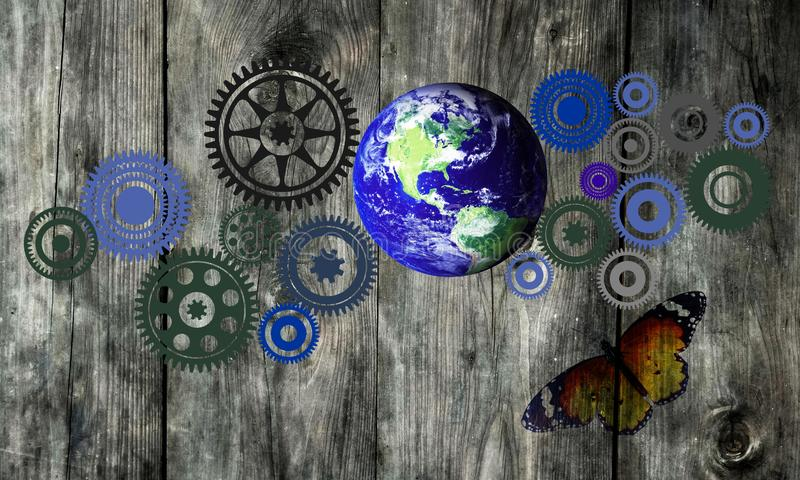 Cogs Earth Graffiti Sustainable Background. Graffiti on a brick wall background with the earth and cogs stock photography