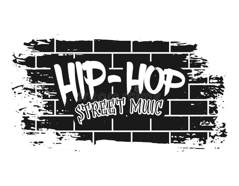 Graffiti on brick wall vector black illustration stock illustration
