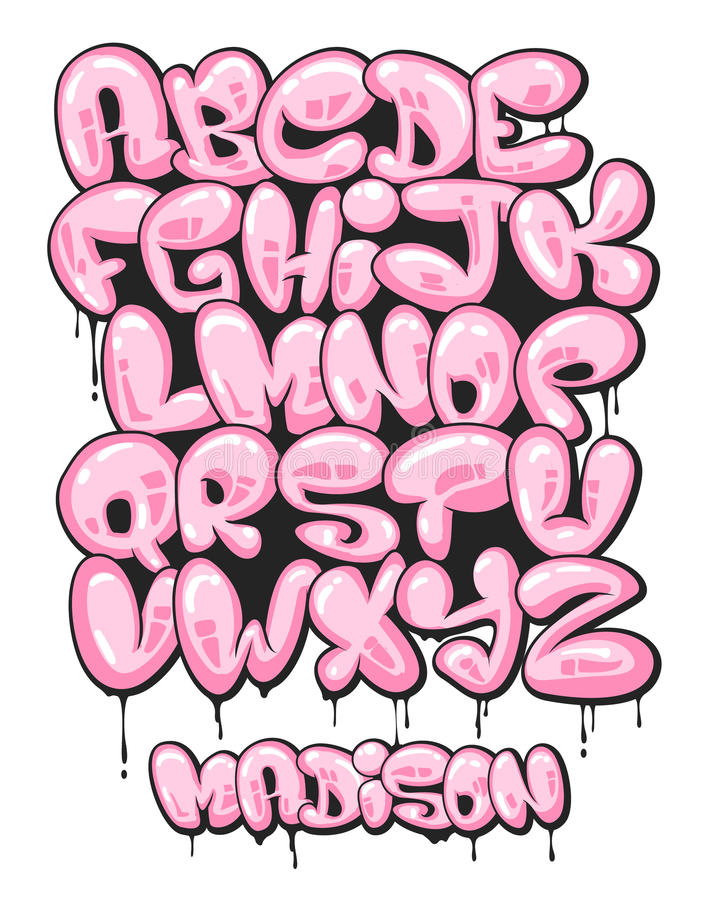 Free Graffiti Bubble Shaped Alphabet Set Royalty Free Stock Image - 81457906