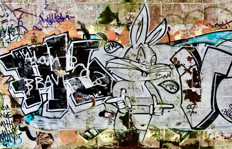 Graffiti Bugs Bunny stockfotos