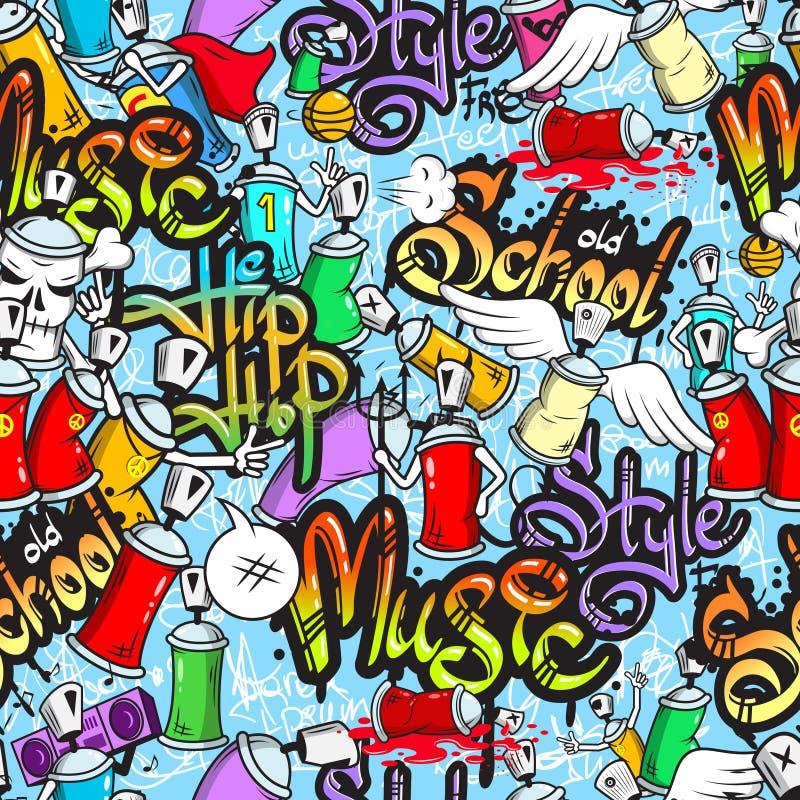 Graffiti characters seamless pattern royalty free illustration