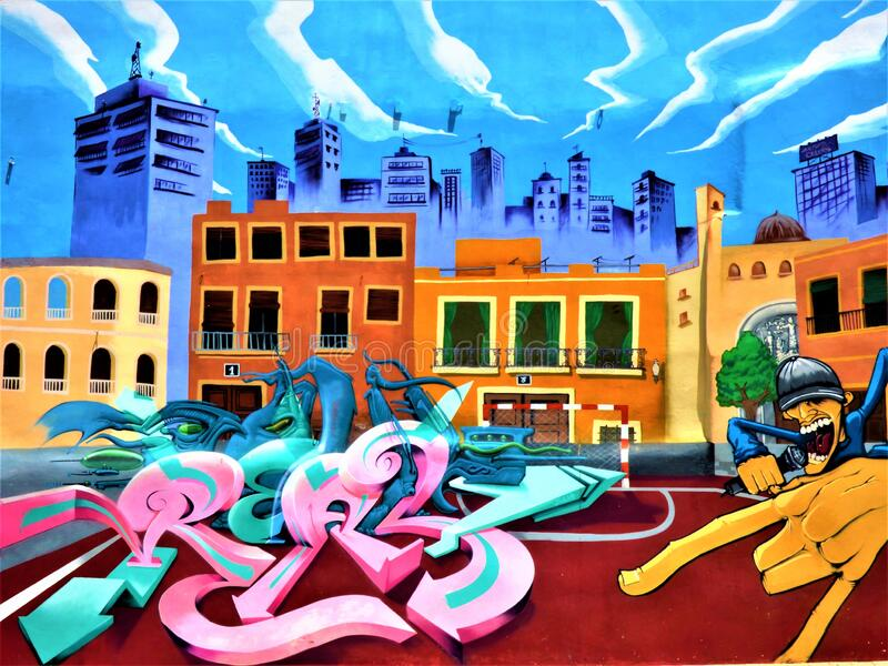 Graffiti of City Background en da One Home Boy royalty-vrije stock foto's