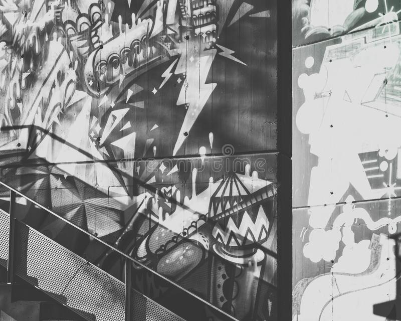 Graffiti in the city in black and white stock photography