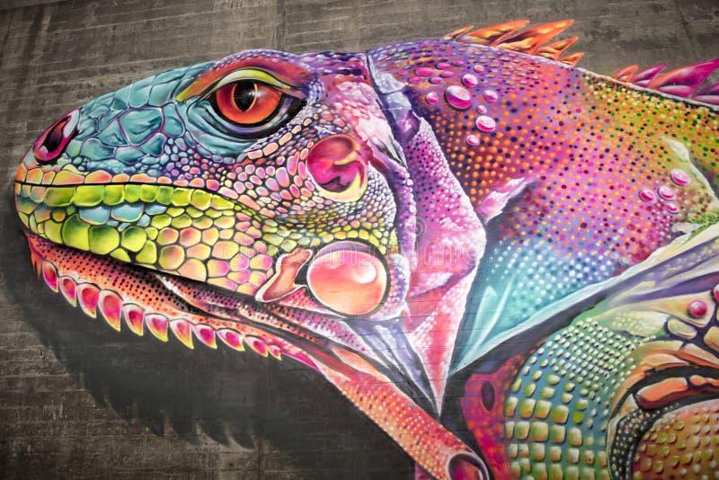 Graffiti, colorful Lizard, mural painting royalty free stock image