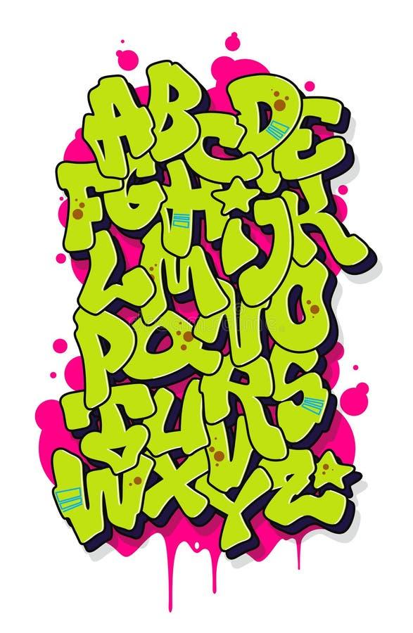 Graffiti comic alphabet. Vector font stock illustration