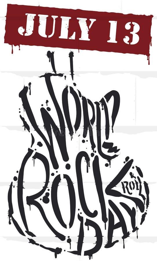 Graffiti commemorativi con forma della chitarra per celebrare giorno della roccia del mondo, illustrazione di vettore illustrazione di stock
