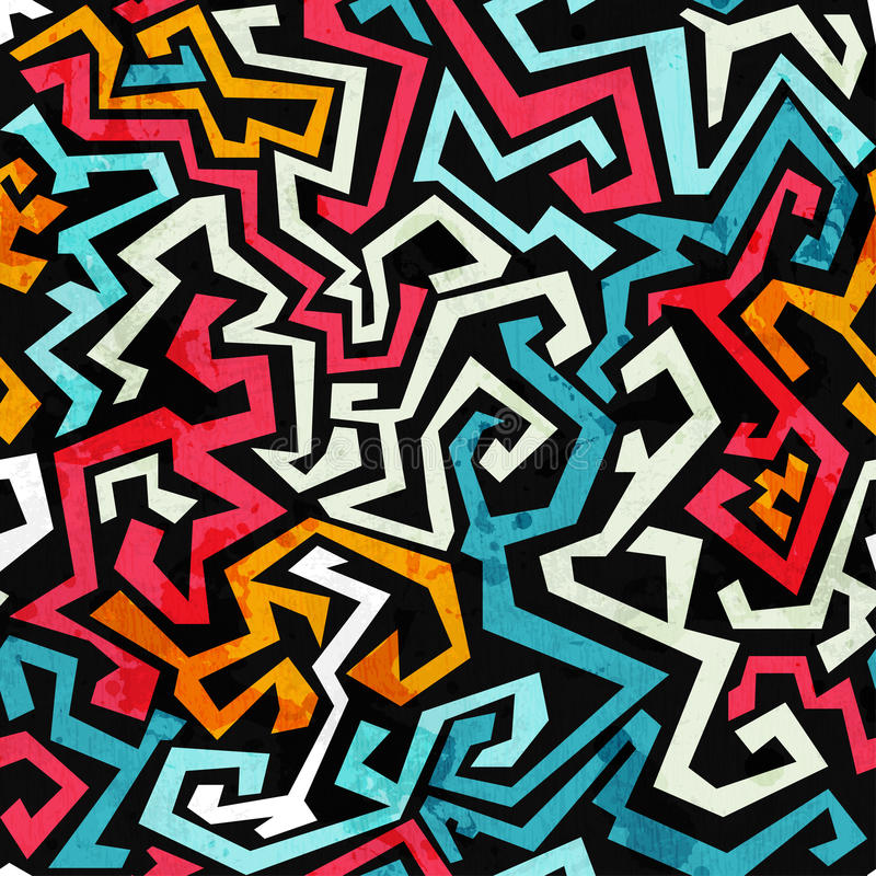 Free Graffiti Curves Seamless Pattern With Grunge Effect Stock Photography - 33022322
