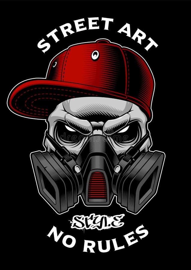 Graffiti czaszka z maską gazową ilustracja wektor