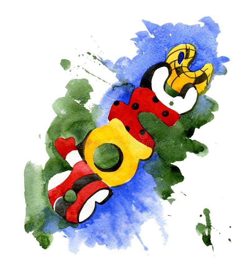 Download Graffiti D'aquarelle D'inscription Illustration Stock - Illustration du conception, sale: 77157854