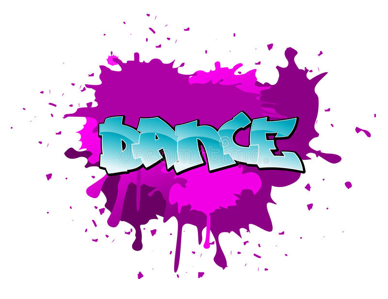 Graffiti dance background. Dance urban graffiti design on blobs background stock illustration