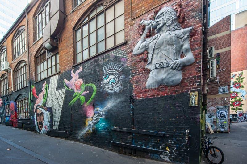 Graffiti dans la ruelle de C.C à C.A. de Melbourne photos stock