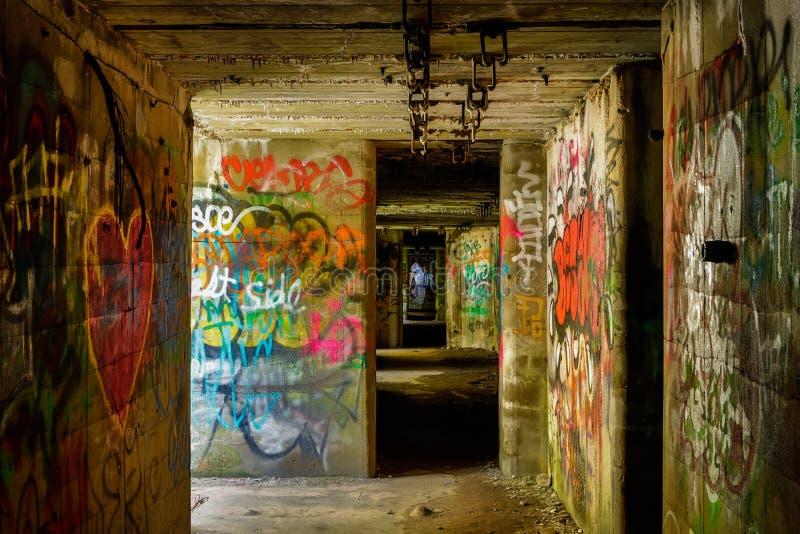 Graffiti dans le bâtiment en béton souterrain en parc d'état image stock