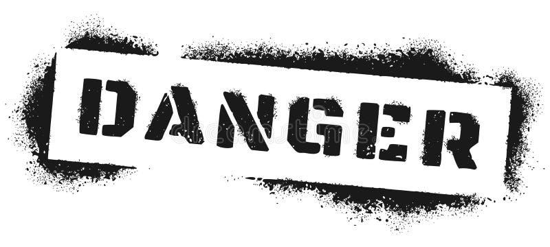 Graffiti de Danger. Inscription de l'avertissement de la peinture au spray noir, citation des dangers et vecteur de zone dangereus illustration stock