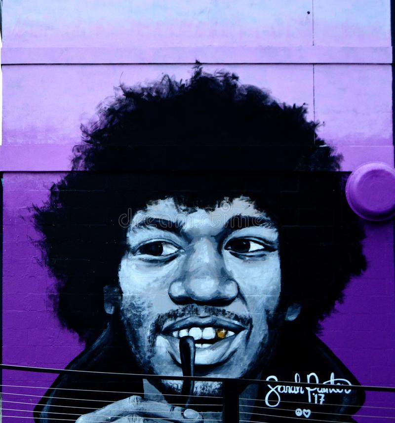 Graffiti de Jimi Hendrix images stock