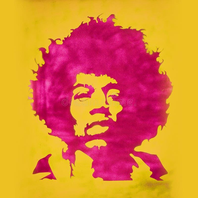 Graffiti de Jimi Hendrix dans le parc photos libres de droits