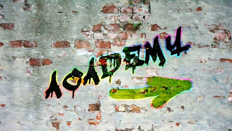 Graffiti de mur à l'académie illustration libre de droits