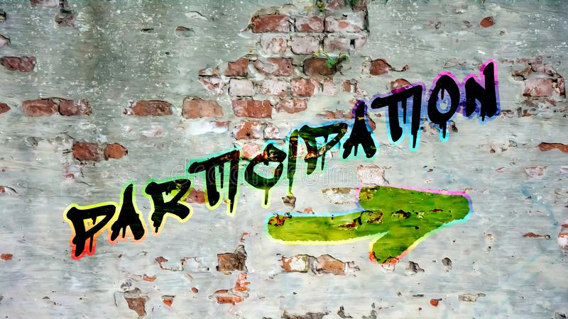 Graffiti de mur à la participation photo stock