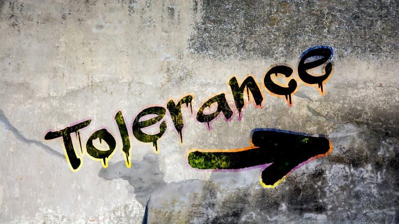 Graffiti de mur à la tolérance image stock
