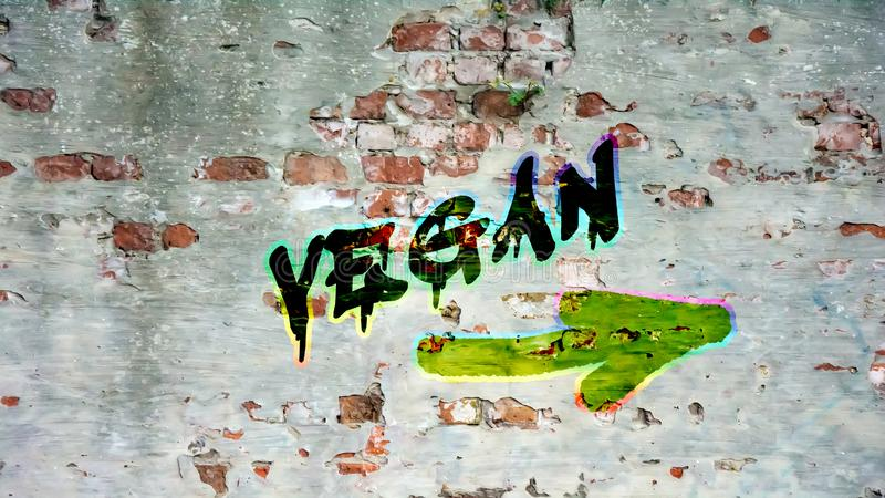 Graffiti de mur au Vegan photo stock
