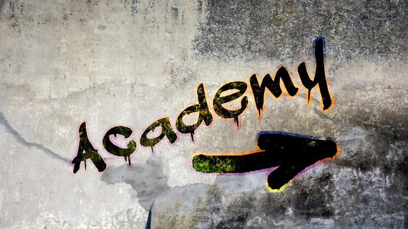 Graffiti de mur ? l'acad?mie photo libre de droits