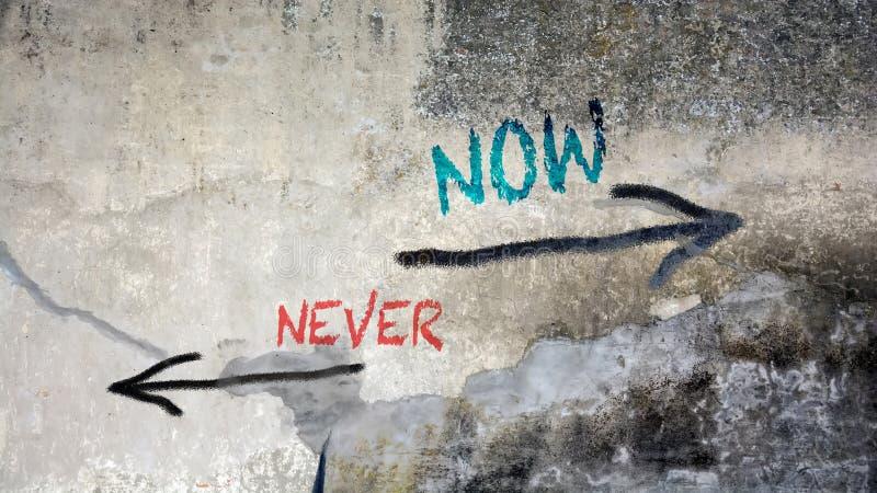Graffiti de mur maintenant contre jamais photo stock