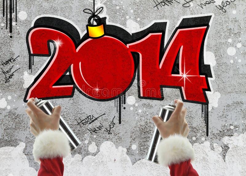 Graffiti 2014 de nouvelle année illustration de vecteur