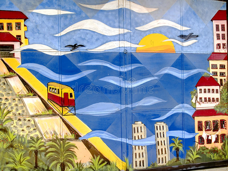 Graffiti de paysage urbain sur une trappe images libres de droits