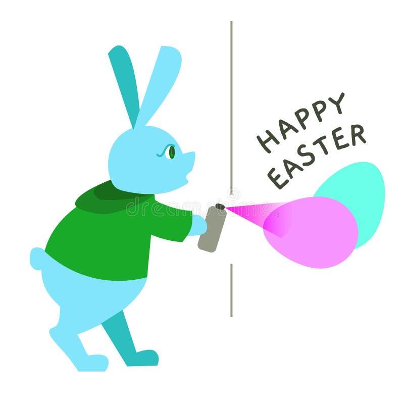 Graffiti de peinture de lapin de Pâques de couleur pour la carte de voeux, annonce, promotion, affiche, insecte, blog, article illustration libre de droits