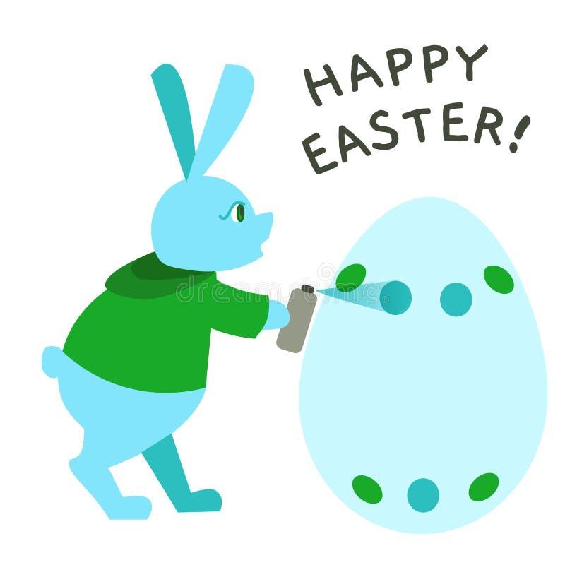 Graffiti de peinture de lapin de Pâques de couleur pour la carte de voeux, annonce, promotion, affiche, insecte, blog, article illustration de vecteur
