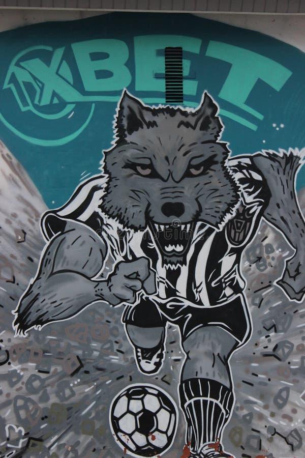 Graffiti de rue, le football, le football illustré image libre de droits
