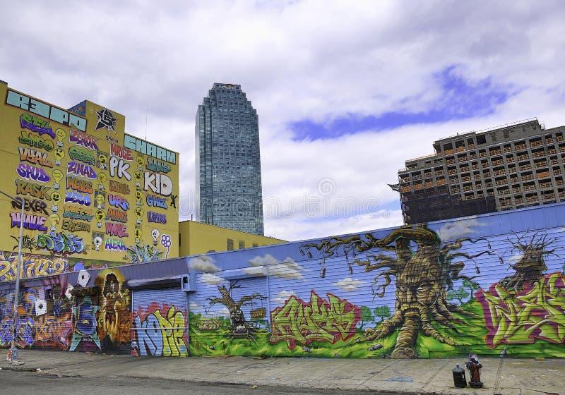 Graffiti in de Stad en Citibank van New York royalty-vrije stock foto