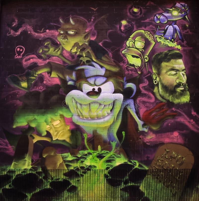 Graffiti del diavolo tasmaniano immagini stock libere da diritti