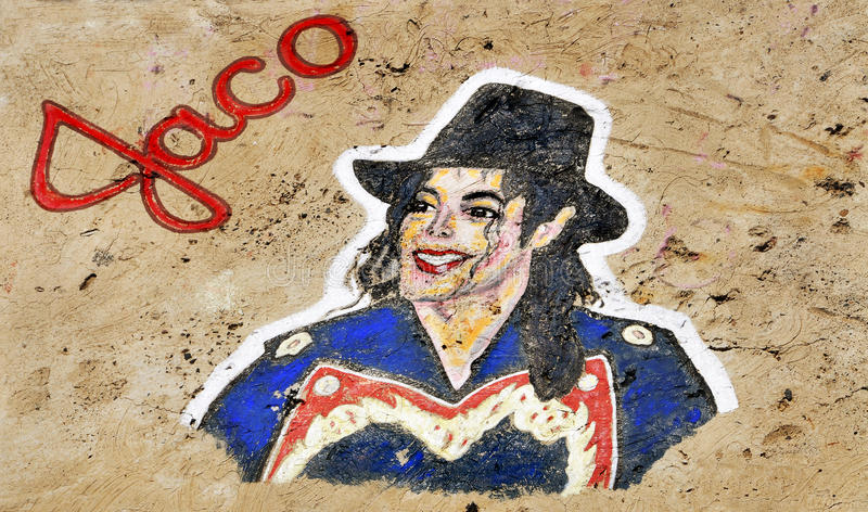 Graffiti del Michael Jackson a Santa Cruz de Tenerife fotografia stock libera da diritti