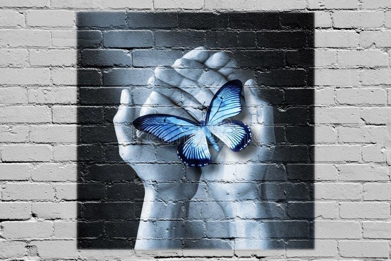 Graffiti della mano della farfalla di amore immagine stock libera da diritti