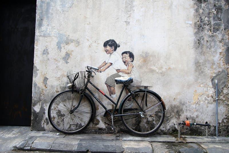 Graffiti della parete di Penang fotografie stock libere da diritti
