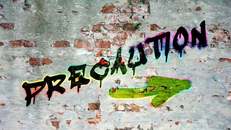 Graffiti della via a precauzione fotografia stock