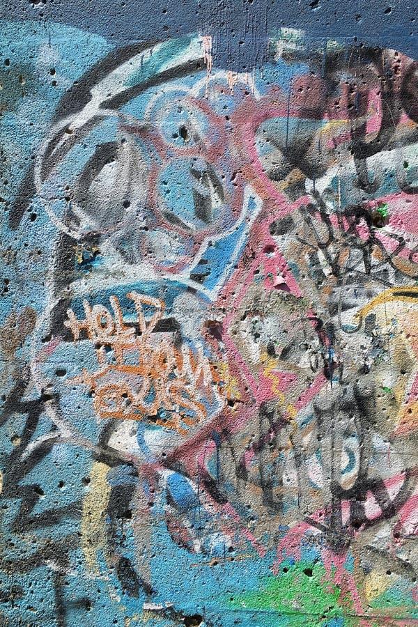 Graffiti in Detroit. Soft pastels make for pleasant graffiti composition stock image