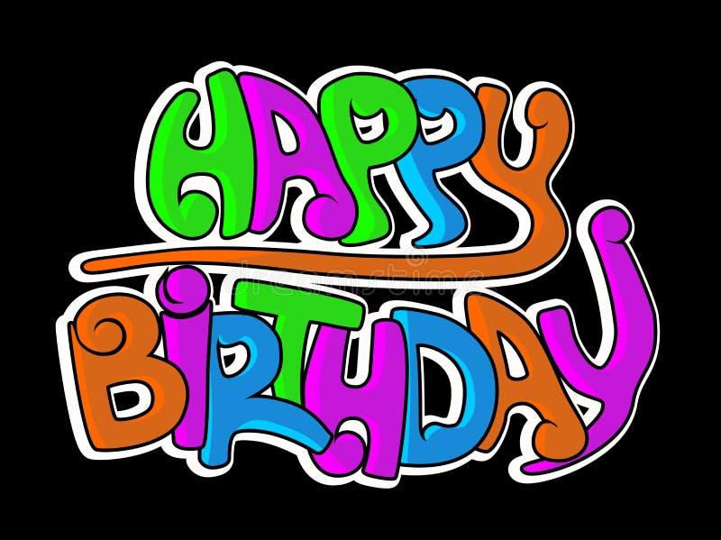 Graffiti di buon compleanno royalty illustrazione gratis