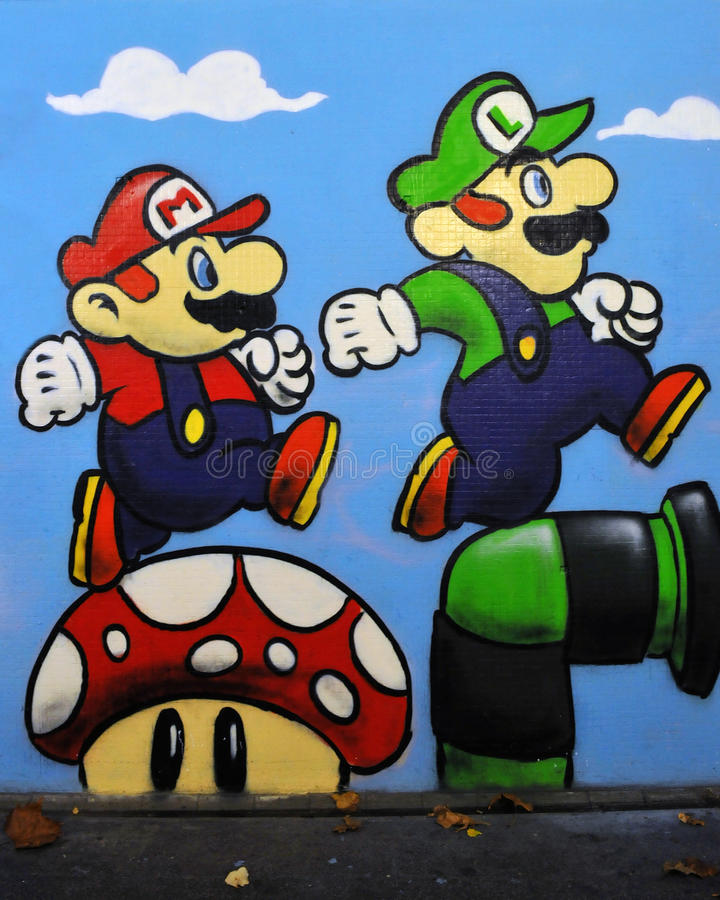 Graffiti Di Mario E Di Luigi Dal Gioco Della Nintendo Fotografia Stock Editoriale