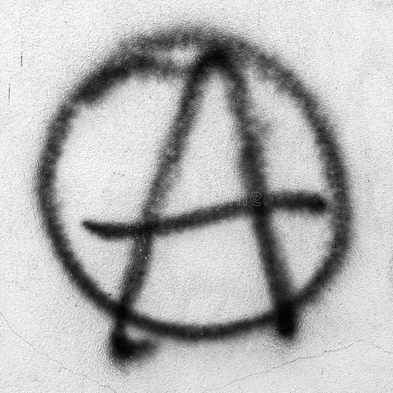 Graffiti di simbolo di anarchia fotografia stock libera da diritti