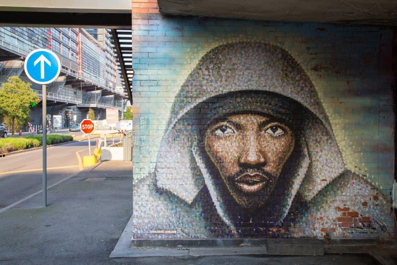Graffiti di un fronte nero fotografia stock libera da diritti