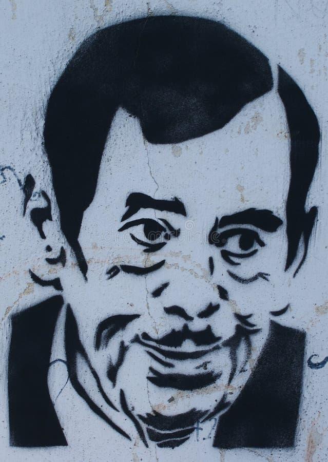Graffiti di Vaclav Havel su una parete illustrazione di stock