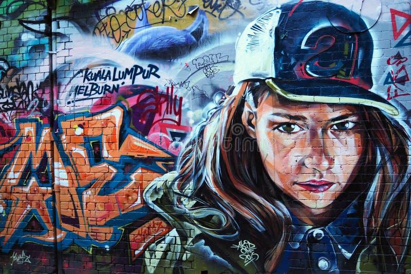 Graffiti die - ernstig Vrouw kijken royalty-vrije stock afbeelding