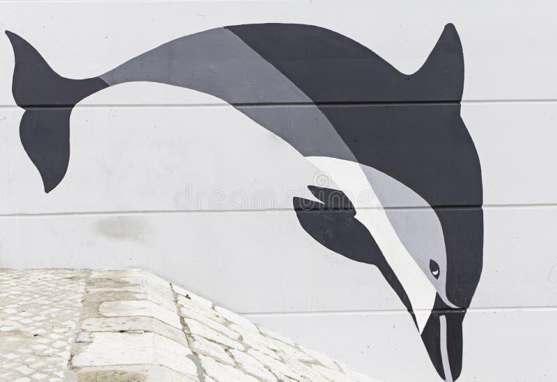 Graffiti dolphin royalty free stock photography