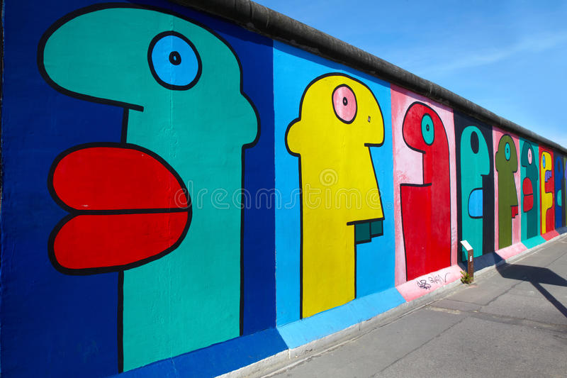 Graffiti at East side Gallery, Berlin royalty free stock photography